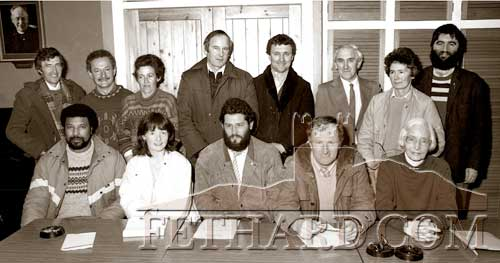 Fethard Historical Society's first committee elected 20 years ago on Tuesday 23rd March 1988. Back L to R:  Vincent Doocey, Jimmy O'Connor, Diana Stokes, Christy Mullins, John Joe Keane, Michael O'Donnell, Marie O'Donnell, Joe Kenny (PRO).  Front L to R: Joe Ryan (Vice Chairman), Mary Hanrahan (Secretary), Peter Grant (Chairman), Denis Burke (Treasurer), and Mary Healy.