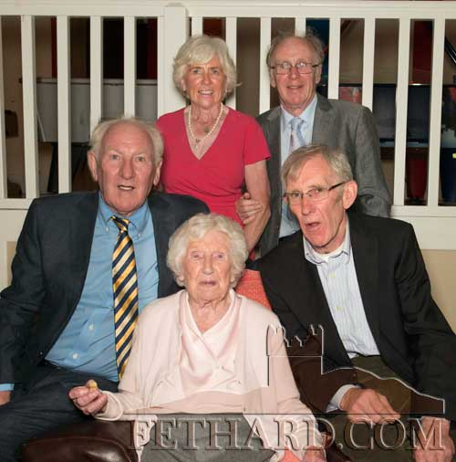 Josie (Holohan) Casey photographed with her family on the occasion of her 100th Birthday celebrated at Fethard Convent Community Hall Back L to R: Mary (Casey) Canty, John Casey. Front L to R: Michael Casey, Josie Casey and Gerard Casey.