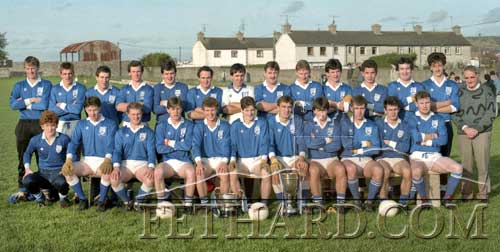 Fethard Senior Football team, South and County Champions 1988 photographed with Jimmy O'Shea (trainer). Back L to R: John Hurley, Tommy Sheehan, Kevin Burke, Liam Connolly, Jim Butler, Michael Healy, Paddy Kenrick, Michael Downes, Shay Ryan, Michael Ryan, Tom McCarthy, Liam Ryan, Miceál Broderick, Jimmy O'Shea (trainer). Front L to R: Paddy Ryan, Michael O'Riordan (Kerry Street), John Hackett, Owen Cummins, Willie O'Meara, Willie Morrissey, Brian Burke (captain), Michael Fitzgerald, Michael O'Riordan (Barrack Street), Gerry Murphy and Joe Keane.