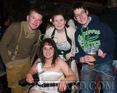 Audrey Tynan (front) photographed with friends on the occasion of her 21st Birthday Party celebrated at The Castle Inn. Back L to R: Niall Taylor, Danielle Mooney and Andrew Kerr.