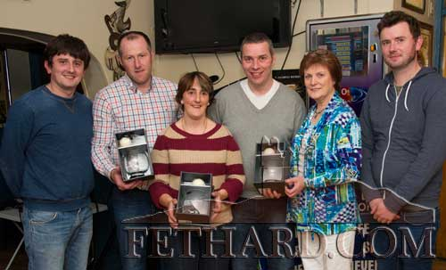 Special guest, Peggy Colville, presenting the Butler's Bar Fethard Sports Achievement Award for October to the selectors and mentors of Fethard's U12 Girls Football Team who completed a great year with county title success. This month's award was sponsored by Hayes Betting Office, Fethard. L to R: Niall Hayes (sponsor), Micheál Spillane, Annette Connolly, Mark Prout, Peggy Colville (special guest) and Richard Hayes (sponsor).