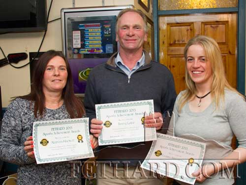 Three of the nominees for the Butler's Bar Fethard Sports Achievement Award for October L to R: Noreen Hackett, coach to three Fethard racquetball players wh played in a tri-nation competition with Bolivia and Venezuala; Barry Lalor and Evanna McCutcheon, trainers of 'Maarek' that won the group 1 Prix De Labbaye at Longchamps for owners Lisbunny Racing Syndicate.