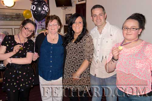 Pamela Daly photographed on the occasion of her 30th Birthday celebrated with 'Hot Ice', family and friends at Lonergan's Bar L to R: Rebecca Daly, Ann Daly, Pamela Daly, Finnan Ryan and Zoë Keane.