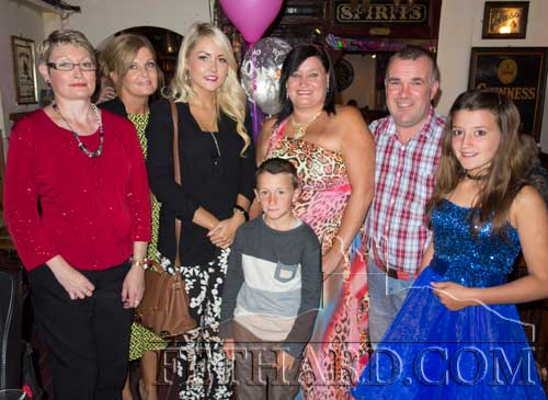 Diane Hall Byrne photographed with family members on the occasion of her 40th Birthday celebrated with family and friends in Lonergan's Bar last weekend. L to R: Caroline Hall, Ann Marie Hall, Jodie Hall, Diane Hall Byrne, Davy Byrne and Casey Hall. In front is Cain Hall.