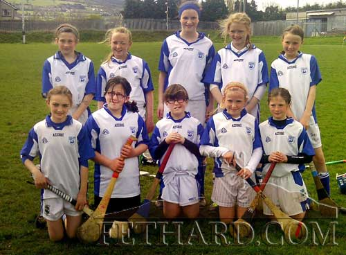 Holy Trinity N.S. first camogie team. Back L to R: Lucy Spillane, Sally Nagle, Katie Ryan, Sally Butler, Amy Roche. Front L to R: Alison Connolly, Emma Geoghegan, Sinead Regan, Emma Jane Burke and Nell Spillane.