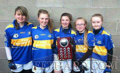 Fethard Ladies Football five representatives on the Tipperary U14 team that were crowned Munster Champions. L to R: Laura Stocksborough, Molly O'Meara, Ciara Hayes, Megan Coen and Kate Davey.