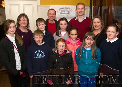 Fethard group from Holy Trinity National School at the launch of Muintir Na Tíre Digital Recollections 2013 website in Cahir House Hotel. Back L to R: Keith MacAmhaidh, Tom Butler. Middle L to R: Edwina Newport, Ciaran Maguire, Megan Ryan, Hayley Ryan, Rita Kenny. Front L to R: Kaylin O'Donnell, Toby Collier, Hannah Sheehy,  Rachel O'Loughnan and Molly Curran.