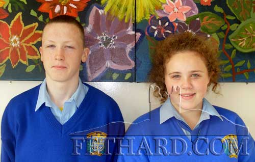 Fethard pupils Katie Whtye and William O'Meara photographed at the recent Comhairle na nÓg conference.