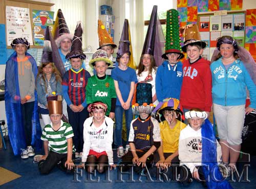 Pupils from Killusty National School preparing their hats for this year's Medieval Parade on Sunday, June 23.