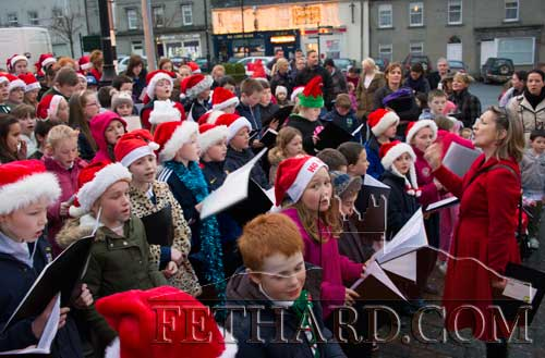 Children from Holy Trinity National School singing at the Christmas Tree on The Square as part of Fethard Christmas Festival