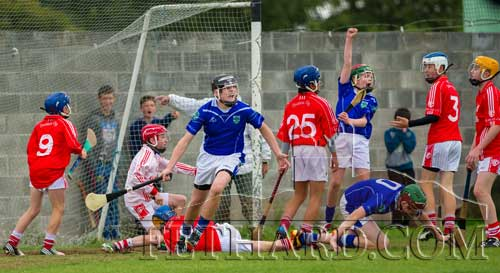 Jesse McCormack and Ross McCormack celebrate as Fethard strike the Thurles Og net in their 6-3 to 5-4 victory in the U14 County Semi Final on Saturday, September 7.