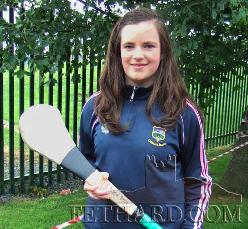 Katie Ryan, Tullamaine took part in the girls long puck at the Community Games County Finals.