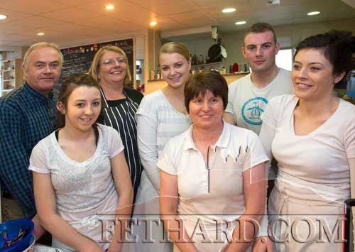 Jollys Café staff who helped at the Coffee Morning in aid of the Philippine disaster on November 23 this year. L to R: Gerard Manton, Niamh Crotty, Susanna Manton, Amy Hanrahan, Marie Murphy, Sam Manton and Faye Manton.