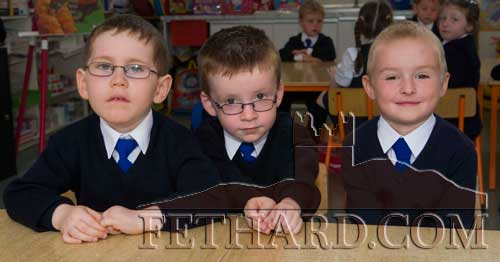 Starting School at Holy Trinity National School in Fethard were L to R: Joey Daly, Oisín McAndrews and Marks Zorins.