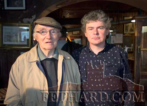 Tony Newport (left) photographed with singer John Spillane in McCarthy's Hotel during the recording of 'Spillane an Fánaí'