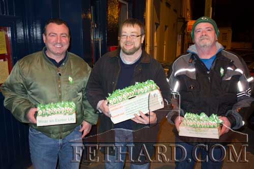 Selling Easter Lilies in Fethard last weekend were L to R: Dermot O'Connor, Éamonn Ó Fogartaigh and Douglas Hannigan