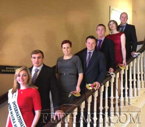 Macra members photographed at the launch of the South Tipperary Macra Masquerade New Year's Eve Ball. L to R: International Miss Macra 2013 Gemma Goulding (Laois), Tommy O'Donnell (Munster Rugby), Emma Flynn, Michael Moclair (Chairperson South Tipperary Macra), Donnacha Ryan, Nuala Farrell and John Murray.