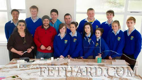 Transition Year Students from Patrician Presentation Secondary School, Fethard, photographed with Michael Costello and Ms Pat Looby while working on their model making project on Fethard Medieval Town. Back L to R: Thomas Channon, Eoghain Hurley, Niall Doocey, Adam Fitzgerald, Christy Dunne, Cormac Horan. Front L to R: Ms. Pat Looby (teacher), Michael Costello (project advisor), Clodagh Bradshaw, Niamh Crotty, Niamh Morrissey, Kelly Keating, Hannah Tobin and Anthony Clair.