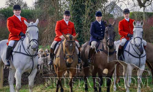Masters of Tipperary Foxhounds photographed at the New Year's Meet in Fethard on January 1, 2013. L to R: Liam Kearney, Paul Ronan, Marion Goodbody and Tim Hyde