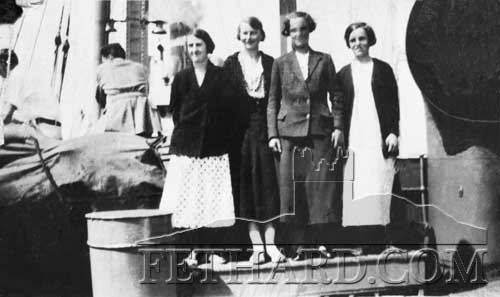 Photographed above are the four young Fethard girls, L to R: Nuala O'Brien, Monica Kevin, Kitty McCarthy and Nellie Carey, leaving on the boat from Cobh to join the Ursuline Order in New York in 1935.