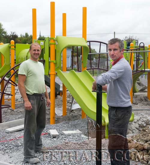 Taking a break from the installation of equipment at Fethard Playground which is due for completion by the end of September are L to R: Mykola Kucherak and Denis Kelly.