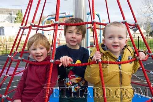 Enjoying the new Fethard Community Playground on opening day L to R: Sam Knightly, Alec Knightly and Jamie Dennehy.