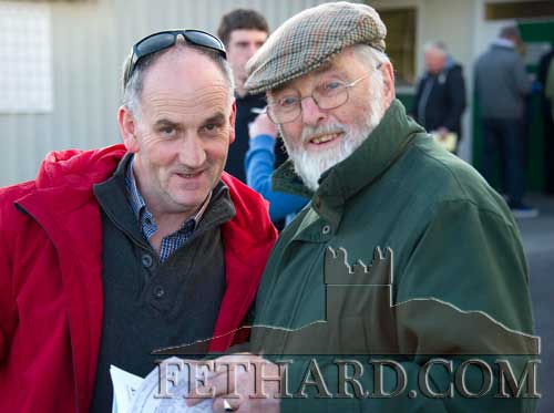 Photographed at the Fethard Playground 'Night at The Dogs' fundraiser at Clonmel Track are L to R: Frank O'Donovan and Danny Kane, Fethard