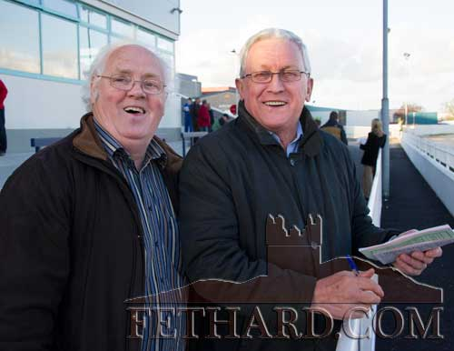 Photographed at the Fethard Playground 'Night at The Dogs' fundraiser at Clonmel Track are L to R: Miceál McCormack and Paddy Hickey, Fethard