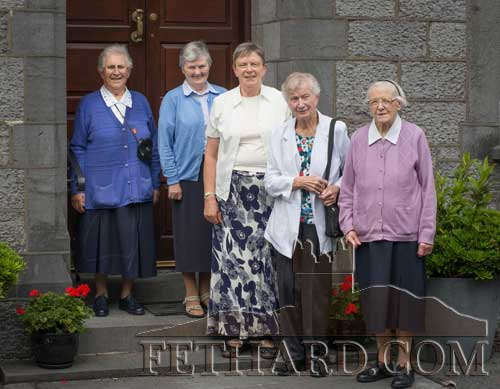 Sr. Monica Kevin OSU, formerly from Barrack Street, Fethard, photographed with Presentation Sisters at Fethard Convent on her recent visit home to Fethard. L to R: Sr. Clement Wall, Sr. Maureen Power, Sr. Winnie Kirwan, Sr. Monica Kevin and Sr. Celsius Ryan.
