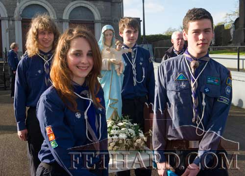 Helping at the May Procession in Fethard were Back L to R: Cormac Horan and Donal Walsh. Front L to R: Megan Bailey and Colin Grant