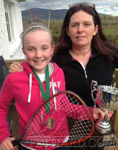Congratulations to Emma Jayne Burke who recently won All-Ireland raquetball gold in Templederry, silver going to Megan Hackett also from Fethard. Both now training hard with Robert Hackett for the international tournament in Wexford in July. Big thanks to their coaches, Noreen Hackett and Eoin Tynan. Emma Jayne is photographed above with coach Noreen Hacket.