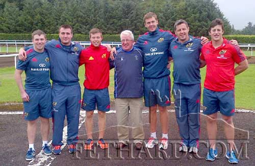 Liam Hayes (centre), Fethard Rugby Club, chaperoning Munster players Dave Foley, Niall Scannell, Johnny Holland, James Coughlan, Barry O'Mahony and Luke O'Dea at Ballydoyle on their Munster Race tour on Thursday, August 1.