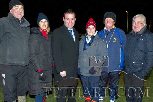 Alan Kelly TD, Minister of State at the Department of Transport Tourism & Sport, enjoyed rugby training with committee members at Fethard & District Rugby Club on Friday night, February 22. Pictured are Alasdair MacDonald, Polly Murphy, Minister Alan Kelly TD, Valerie Connolly, Paul Kavanagh and Liam Hayes.
