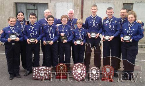 Photographed at the County Shield Competition are Ruth McDonald, Taylor and Cameron Bailey, David Mockler, Dan Walsh (PL), Eoin O'Donovan (APL), Dylan Ryan, Katie Whyte, with leaders Rachel Hanlon, Brendan Bailey, Bobby Phelan and Cormac Keating.