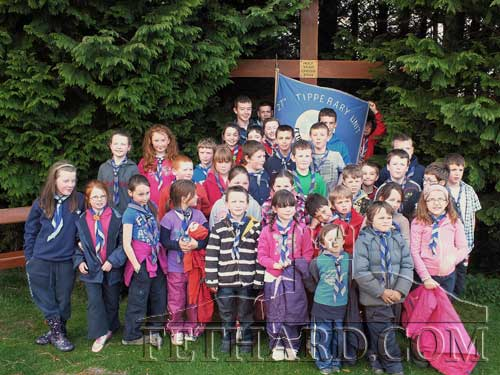 Fethard Scout Group photographed on their hike to the Mass Cross on Slievenamon to recite their Beaver and Cub Scout Promise