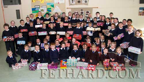 Pupils from Holy Trinity National School photographed with Christmas Boxes that they prepared for the annual Shoebox Appeal – an Irish project that promises to get your 'Christmas Shoebox' into the hands of a needy child in Eastern Europe.