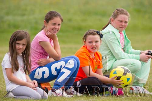 Watching the the Second Division local derby league game between Moyglass F.C. and Killusty F.C. are L to R: Grace Coen, Leah Coen, Hannah Dolan and Rachel Prout