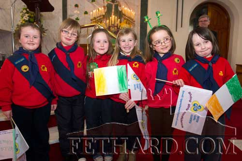 Slievenamon Ladybirds photographed at St. Patrick's Day Mass in Holy Trinity Parish Church. L to R: Rebecca Needham, Caoimhe Murphy, Aoibheann Collum, Emily Spillane, Róisín Geoghegan and Maria Brett.