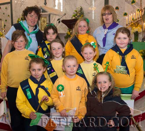 Fethard Brownies with leaders, Catherine O'Donnell and Majella Daly, photographed after St. Patrick's Day Mass in Holy Trinity Parish Church.