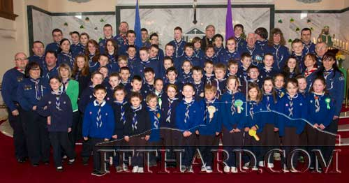 Fethard Scouts and leaders photographed after St. Patrick's Day Mass in Holy Trinity Parish Church. Also included is Canon Tom Breen P.P.