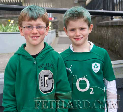 In Fethard for St. Patrick's Day are L to R: Miceál and Jack Quinlan