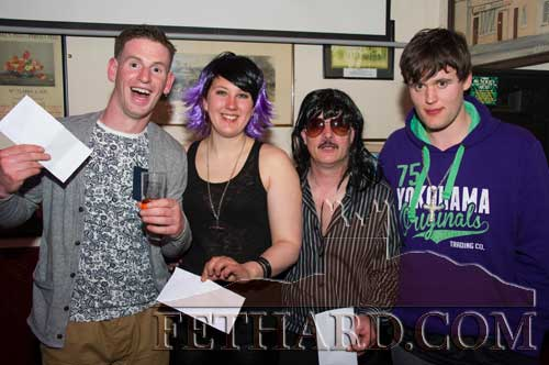 Winners in the 'Stars in Your Eyes' for suicide awareness event at Lonergan's Bar. L to R: Frank Culleton, Charlene Serdobbel, Adrian Bradshaw and Joe Thompson.