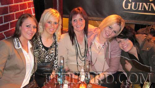 Photographed in Lonergan's on St. Stephen's Day are L to R: Becky Damon, Amanda Johnston, Vera Dorney, Carrie Damon and Laura Johnson