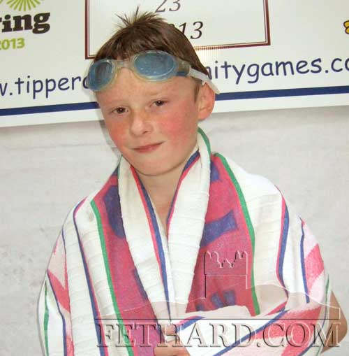 Cathal Ryan, Killusty, who qualified for the final of the U12 freestyle swimming event at the county final.