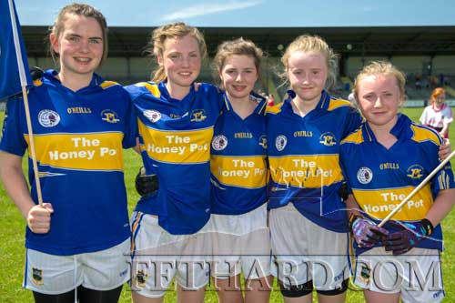 Fethard girls Laura Stocksborough, Molly O'Meara, Ciara Hayes, Kate Davey and Megan Coen helped the Tipperary U14 team beat Leitrim in the All-Ireland Semi Final on Saturday, June 8. Well done girls and best of luck in the All-Ireland Final.