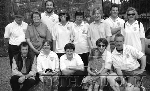 Fethard to Fethard walkers pictured on 28th June 1998 at Kiltinan Barracks, four miles from completing their 52 mile walk from Fethard-on-Sea, Co. Wexford, to Fethard, Co. Tipperary. The walk began on Friday, June 26th and was completed on Sunday June 28th. Proceeds of the sponsored walk were donated to Fethard charity organisations.