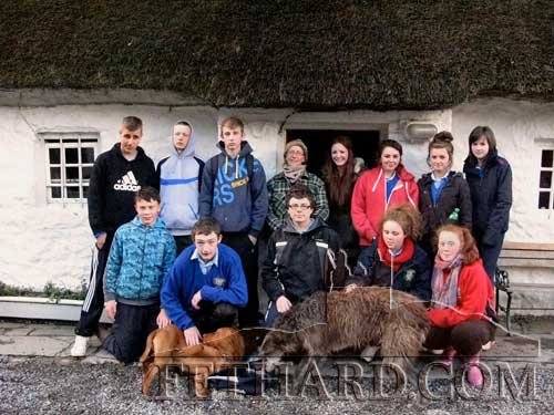 Fethard Transition Year students photographed with basket maker, Jane Walker, on their recent trip to Slievenamon for a workshop demonstration in the craft.
