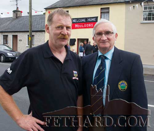L to R: Patsy McGrath (Vee Rovers) and Richard Power (TSDL) photographed outside the Moulson home in Clogheen