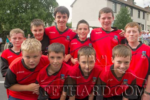 Young Vee Rovers players all togged out at the unveiling of a plaque to honour Con and George Moulson in Clogheen