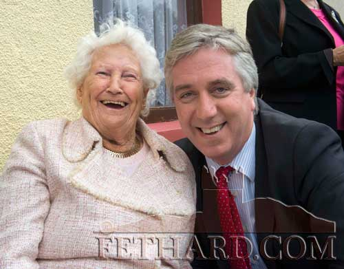 Madge Hurley and John Delaney, CEO FAI. Madge Hurley's mother was a sister of Bridget (Dahill) Moulson, who was the mother of Con and George Moulson.